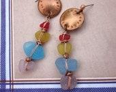Embossed Rainbow Gong Earrings