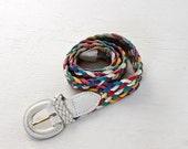 SALE - vintage rainbow braided leather belt