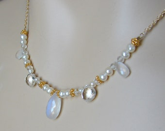 Moonstone  Pearl Necklace--Jewel Drop Gold Series