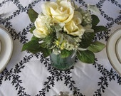 Black and White Leaf Damask Table Overlay
