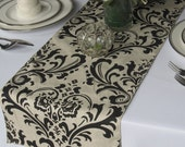 Traditions Black on Taupe Damask Wedding Table Runner