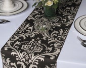 Traditions Brown and Taupe Damask Table Runner