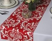 Traditions White on Red Damask Table Runner Wedding Table Runner