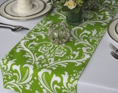 Traditions Green and White Damask Table Runner
