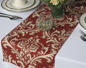 Traditions Dark Red (light burgundy) and Taupe Damask Wedding Table Runner
