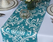 Traditions White on Turquoise Damask Wedding Table Runner