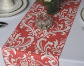 Traditions Coral and White Damask Table Runner Wedding Table Runner