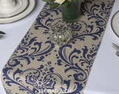 Traditions Navy on Linen Damask Wedding Table Runner