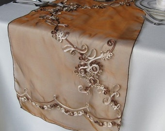 Brown Cord Embroidery Sheer Organza Table Runner