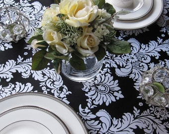 Black and White Satin Damask Overlay