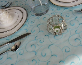 Light Turquoise Pool Blue Swirl Embroidered Organza Table Overlay