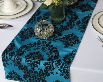 Victorian Peacock and Black Flocked Damask Taffeta Table Runner