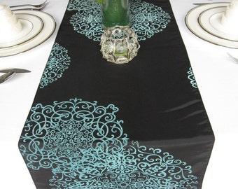 Black Aqua Medallion Damask Table Runner Flocked Damask Taffeta Wedding Table  Runner
