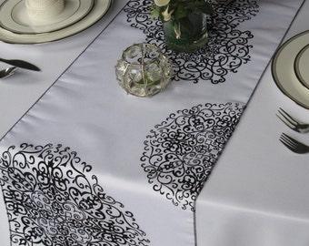 White And Black Medallion Damask Flocked Damask Table Runner Wedding Table  Runner