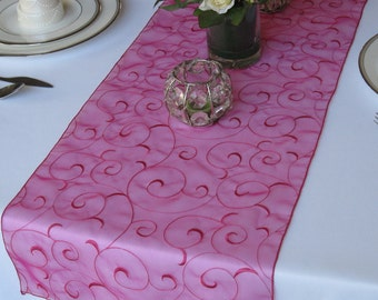 Swirl embroidered organza wedding table runners