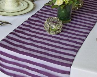 Plum Tuxedo Striped organza table runner wedding table runner