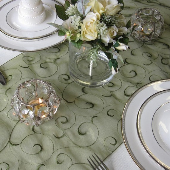 Swirl Embroidered Organza Table Runner Many Colors Available