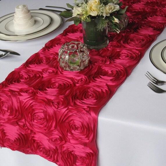 Satin Ribbon Rosette Wedding Table Runner Fuschia By