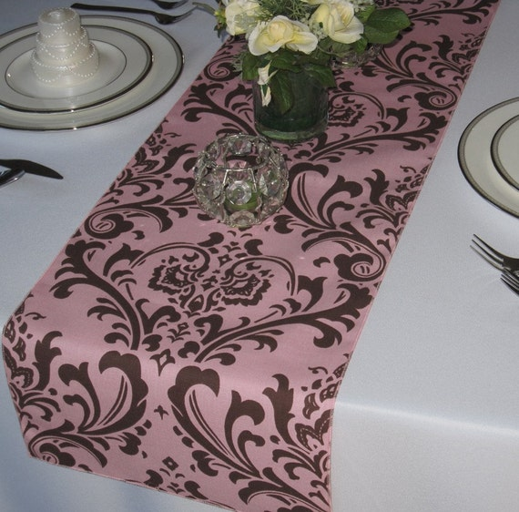 Traditions Brown on Pink Damask Table Runner