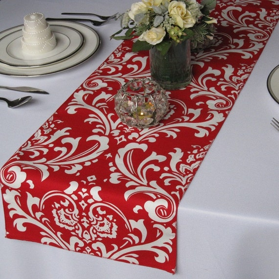 Traditions White on Red Damask Table Runner Wedding Table Runner