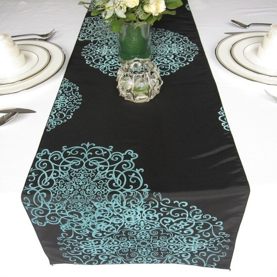 Wedding runner Flocked Runner Swirly 60  round Love table Table for length Table Damask Runner Taffeta