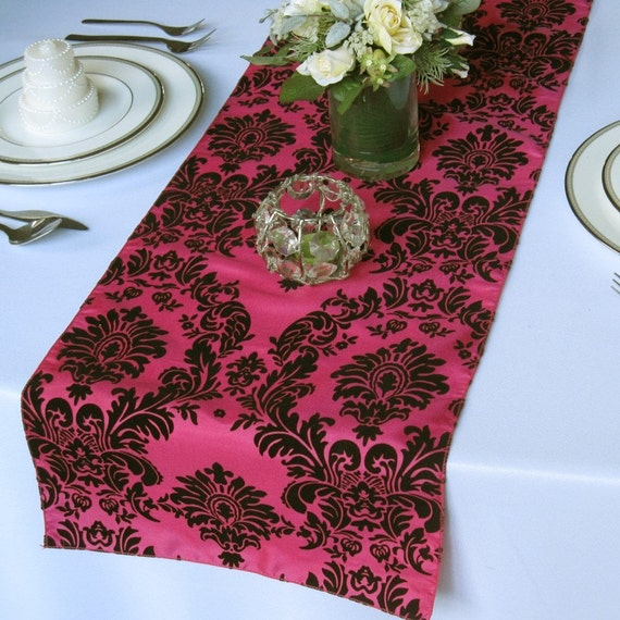 "Victorian Hot pink and Black Flocked Damask Taffeta Table Runner - only 3 left in stock 108""x13"""