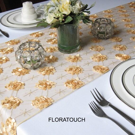 """Gold Rosette Flowers on Tulle Table Runner - only 1 left in 108"""" length"""