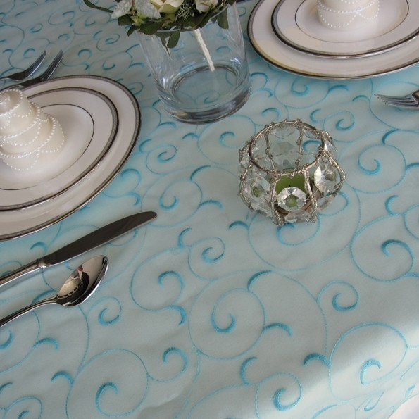 Light Turquoise Pool Blue Swirl Embroidered Organza Table