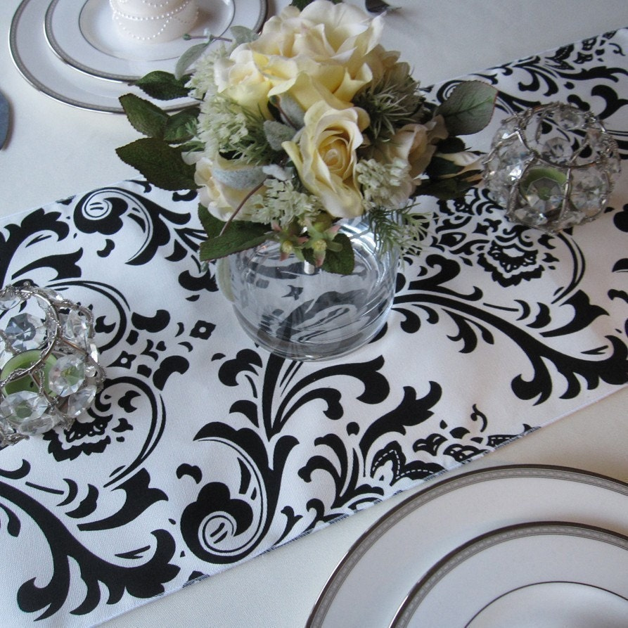 Traditions White And Black Damask Table Runner Wedding Table