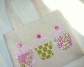 Cupcake mini tote bag - pink and green Amy Butler prints