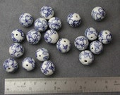 Porcelain Blue and White Flower Beads LARGE 4 pcs.