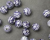 Blue and White Chinese Porcelain Round Wave Beads Large 4 pcs.