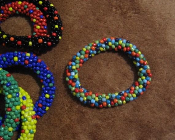"Beaded ""Confetti"" Crocheted Bangle Bracelet, jewelry, polka dots, made in USA"