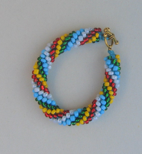 Multi-colored Crocheted Beaded Bracelet With Toggle Clasp.  Made in USA