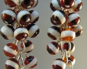 White Line Brown Agate and Sterling Silver Cluster Earrings, by Countenance Jewelry