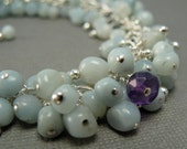 Aqua Amazonite and Purple Amethyst Cluster on Sterling Silver Chain, February Birthstone, by Countenance Jewelry