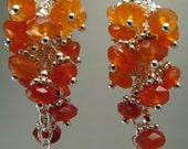 Luscious Orange Carnelian and Sterling Silver Cluster Earrings, by Countenance Jewelry