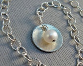 Pearl and Sterling Silver Chain Charm Bracelet, June Birthstone, by Countenance Jewelry