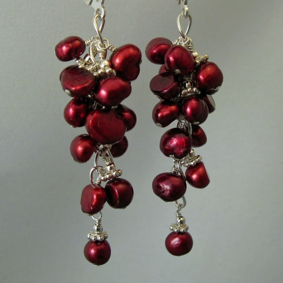 Cranberry Red Freshwater Pearl Cluster and Sterling Silver Earrings, June Birthstone, by Countenance Jewelry on Etsy