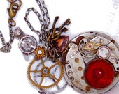"""Ruby Red Steampunk Watch and small """"Heart Parts"""" Necklace"""