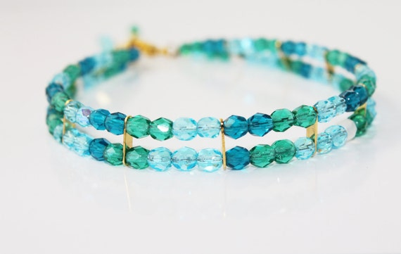 Ocean Blue and Teal Crystal Double Strand Anklet