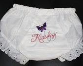 Embroidered Personalized Baby Bloomers with Butterfly