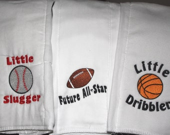Baby Boy's Embroidered Burp Cloth Set of 3- Sports