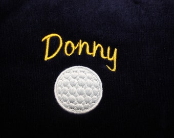 Embroidered Personalized FRINGED Golf Towel with Grommet