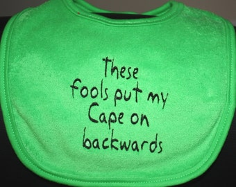 Embroidered Bib for Baby-Backwards Cape- GREEN