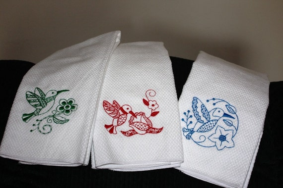 Embroidered Hummingbirds- Kitchen Towel Set of 3