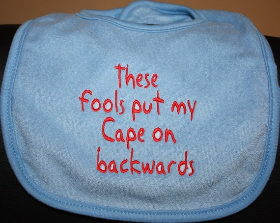 Embroidered Bib for Baby-Backwards Cape- BLUE