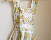 Vintage Floral Yellow Roses Full Apron