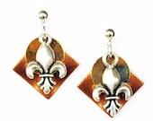 Fleur de Lis Earrings - Copper/Gold/Silver mixed metal color combination with Fleur de Lis Charm - on Ear Posts or Ear Wires