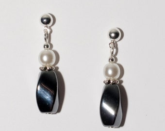 Hematite Earrings with Swarovski Glass Pearl - on Ear Posts or Ear Wires